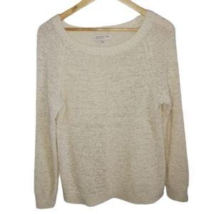 3/30$ JNY Cream Loose Knit Boatneck Sweater